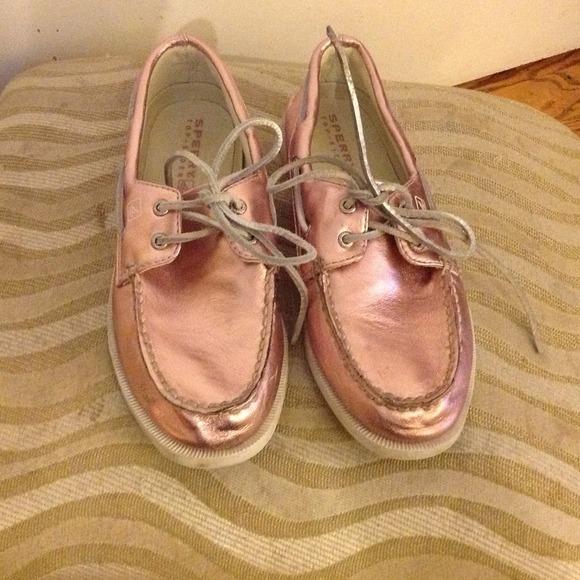 Girls Pink Metallic Sperry Topsider
