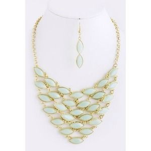 LAST ONE! Mint Beaded Bib Necklace