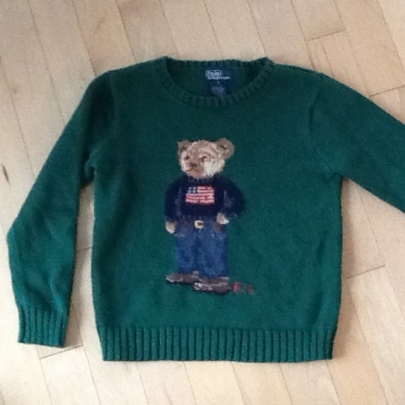 Green Lauren Sweater Hold Bear On Polo Ralph Size kTOZuPiwXl