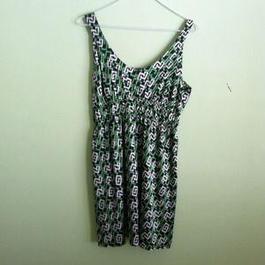 White green and black silk geometric print dress