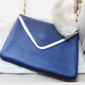Soft Leather Blue Clutch Handbag Envelope Style
