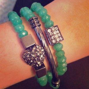Greenish/Blue Bracelet Set
