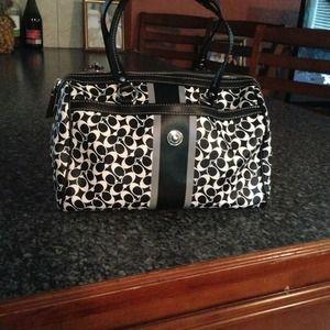 Black and white Coach purse