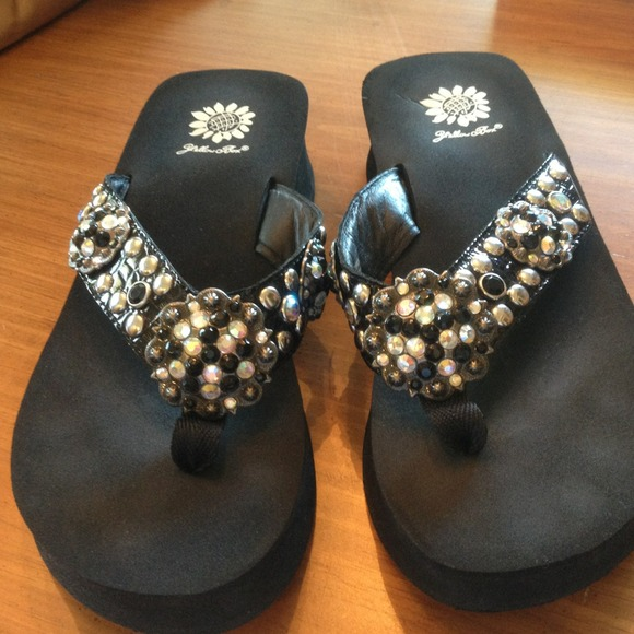 Yellow Box Shoes  Black Rhinestone Flip Flops Reserved -4599