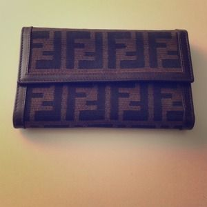 Authentic Fendi Canvas Zucca Print Trifold Wallet.