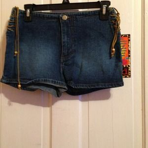 Denim mudd shorts that tie up the side