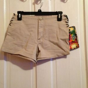 Mudd tan denim shorts with tie up at the side