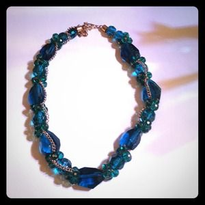 REDUCED Teal Stone Necklace with Gold Chain