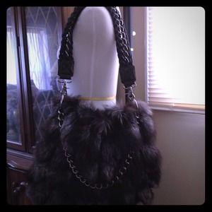 Authentic Pour la Victorie Large Fox Fur Flap Bag