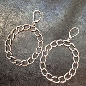 Jewelry - Chain hoop burnished silver earrings