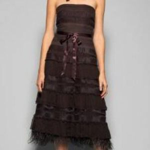 Brown BCBGMAXAZRIA dress with feathers