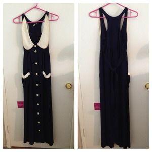 Vintage Judy's of California Navy Dress 1970