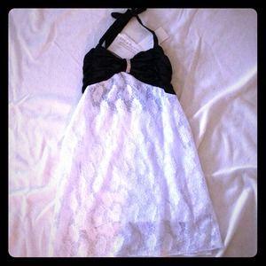 Dresses & Skirts - Black and white halter empire style dress