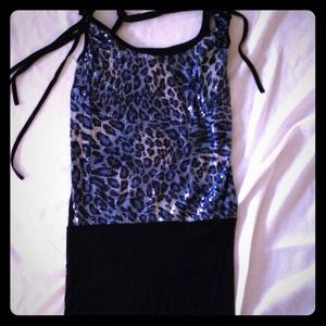 Tops - REDuCED!!!! Black, blue and silver sequined top.