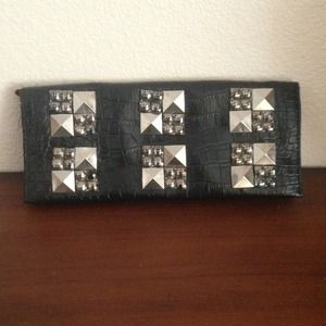 Clutches & Wallets - Black Studded Clutch