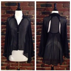 🎉2X Host Pick🎉Sheer Cut-Out Blouse