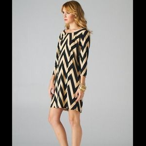 Nude and black chevron dress