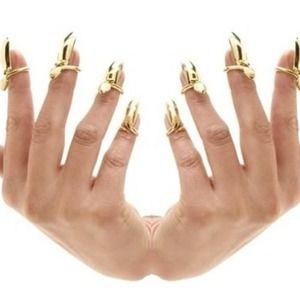 Gold nail tip ring