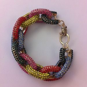 Multi Color Pave Link Bracelet