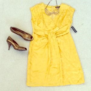 Argenti Dresses & Skirts - Host pick!!! Yellow Floral printed 100% silk dress