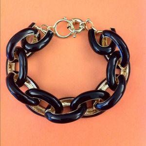 Black Enamel Link Bracelet