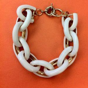 White Enamel Link Bracelet