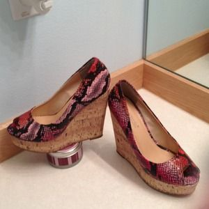Shoedazzle Shoes - Snake print wedges