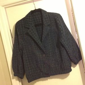 American Apparel Jackets & Blazers - Green and blue houndstooth bomber jacket