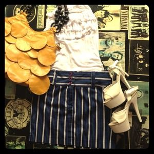 Dresses & Skirts - Navy blue and white pin striped skirt