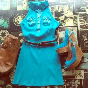 Dresses & Skirts - Turquoise Halter dress,wedge heels and TH purse