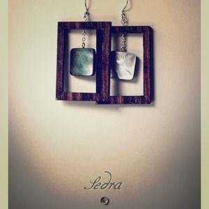 Jewelry - She'll and tiger ebony wood earrings