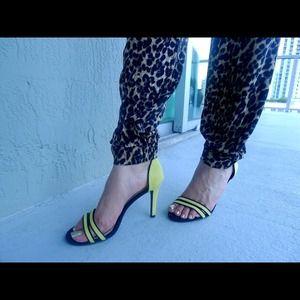 Zara neon yellow heels