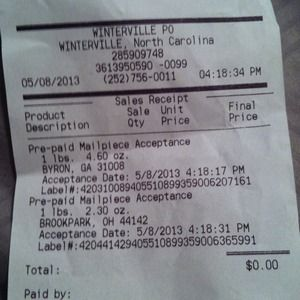 Shipping receipt