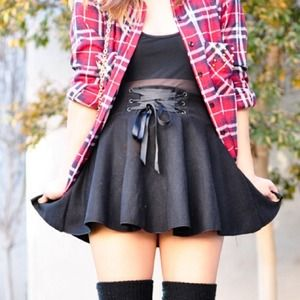 Black skater skirt with lace up detail