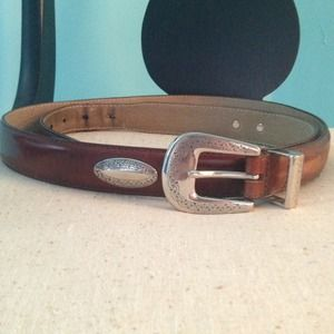 Accessories - Western inspired belt top grain leather & silver