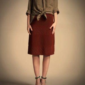 Alberta Ferretti Silk Lace, Beaded Skirt in green