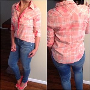 Arizona Tops - Apricot peach plaid shirt