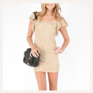 Nasty Gal Wow Couture Ruffle Gold dress