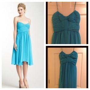 Teal Blue Bow Bodice Dress NWT