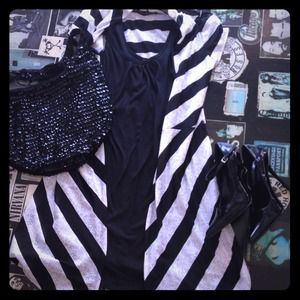 Dresses & Skirts - Black tank dress and black and white over jacket.