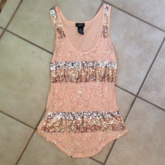 44% off Rue21 Tops - Peach blush color sequin top from Sarah's ...