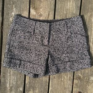 Express Black and White Tweed Shorts