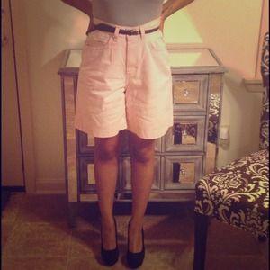 Vintage high waist pink denim shorts