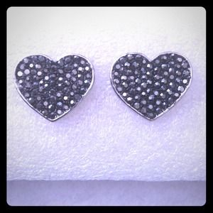 Gunmetal Heart Studs Earrings rhinestones