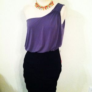 Dresses & Skirts - *NWT* One Shoulder Color Block Dress with ruching