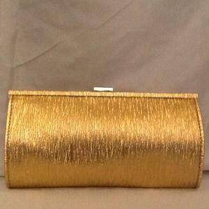Gold fabric clutch