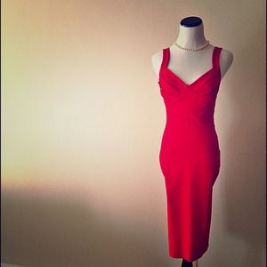 Red Panel Pencil Skirt Dress by Hybrid