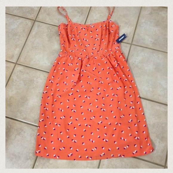 a4ac541eeaa NWT Old Navy Orange w  Hearts Summer Dress