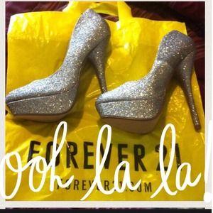 Forever 21 Multi color glitter high heels