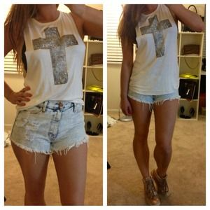 Tops - Studded Cross Cutout Muscle Tank